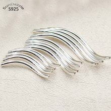 Real Pure Solid 925 Sterling Silver Connector S Shape Curved Silver Long Tube Beads Bracelet Necklace Jewelry Making Findings(China)