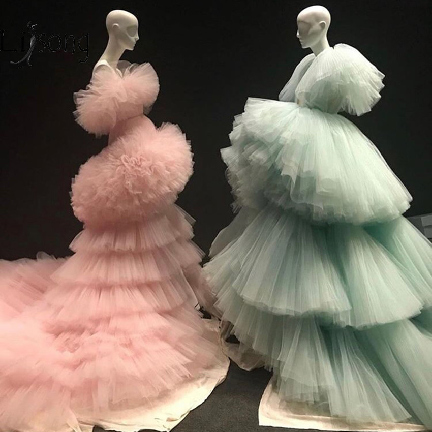 Nuevos Vestidos De Noche Largos Fruncido Por Capas Verde Menta A La Moda Con Volantes Tutú Rosa Melocotón Hinchado Vestidos De