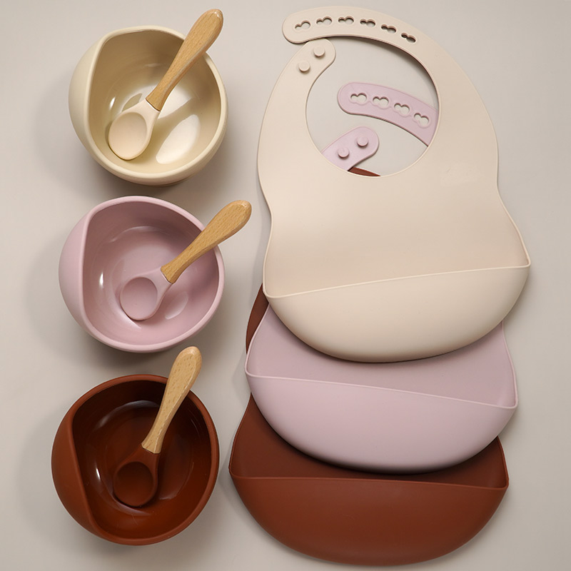 Muslinlife Newborn Baby Silicone Feeding Tableware Waterproof Baby Bibs For Toddler Breakfast Feedings