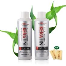 120ml Free Formalin Keratin Coconut Smell Hair Treatment Natural +120ml Purifying Shampoo Straightening for Hair
