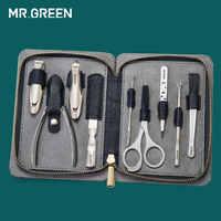 IL SIG. VERDE di Alta qualità Stainleess Acciaio Inox grooming kit 9 in 1 nail clipper set Pelle Bovina pacchetto Manicure cura del chiodo buon regalo