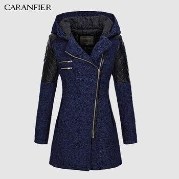 CARANFIER 2019 Female Jacket Women Warm Slim Jacket Thick Parka Overcoat Winter Outwear Hooded Zipper Coat Women's Down Jacket