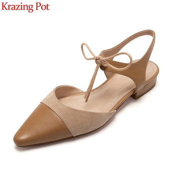 Krazing pot fashion brand sandals mixed color cow leather pointed toe low heel butterfly-knot shallow lace up shoes women L6f1