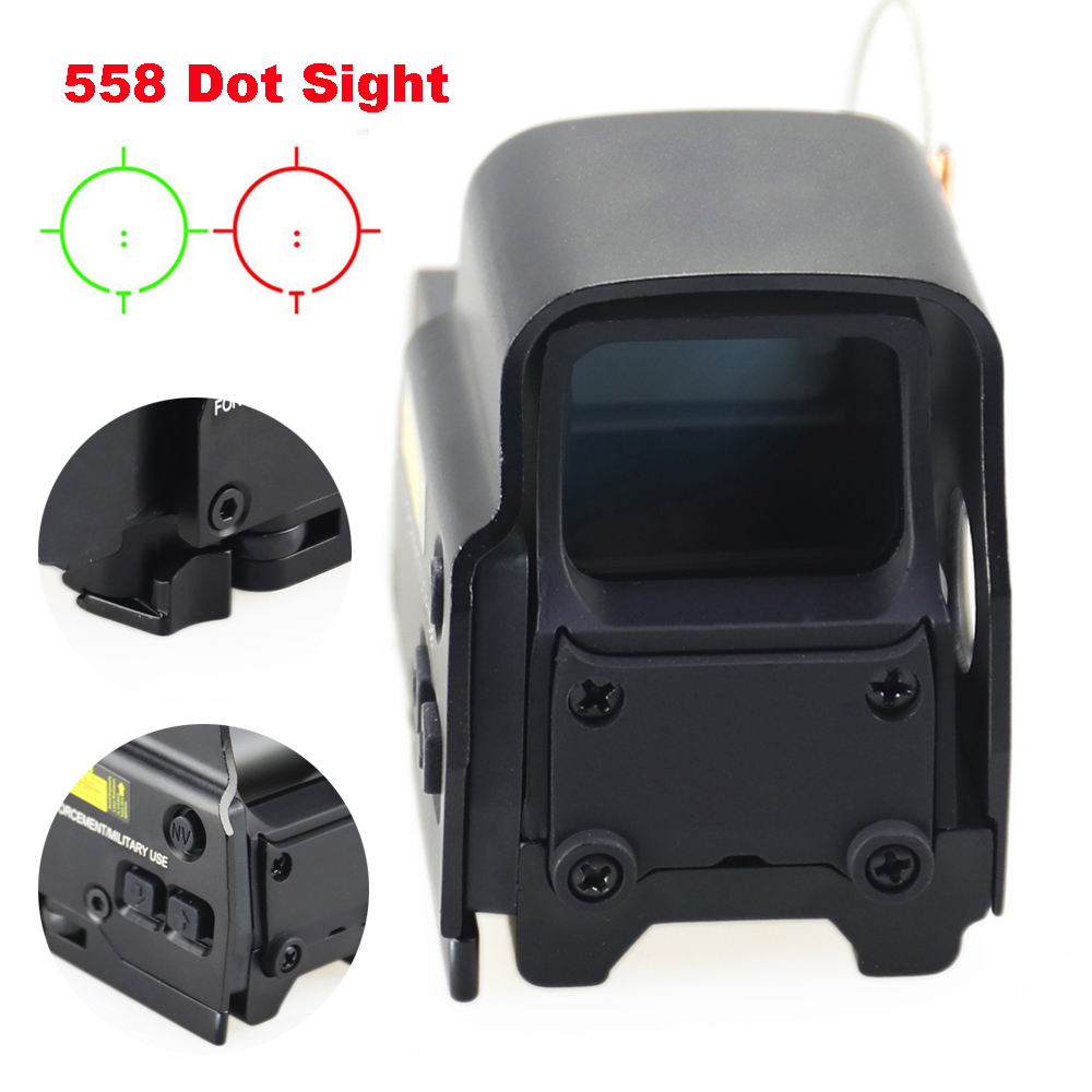 Aluminum Tactical Holographic <font><b>558</b></font> <font><b>Red</b></font> Green <font><b>Dot</b></font> Sights Reticle Brightness Adjustable Hunting Airsoft Riflescope 20mm Rail Mount. image