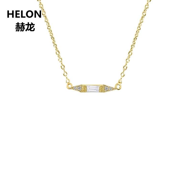 Твердые Ювелирные наборы из 18 каратного желтого золота с натуральным подвеска Бриллиантовая колье багетка бриллианты Для женщин Обручение
