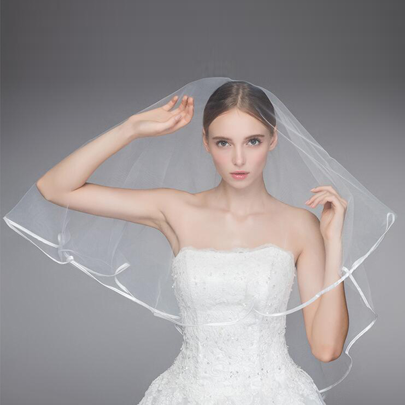 2020 Charming Wholesale Cheap Bride Veils White 1.5m Satin Edge One Tier Bridal Wedding Veils Wedding Accessory