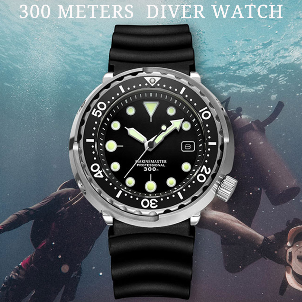 Canned Tuna Diver Automatic Mechanical Mens Watches Japan NH35 Movement Resistant Rotate Bezel Rubber Strap Sapphire Glass Clock image