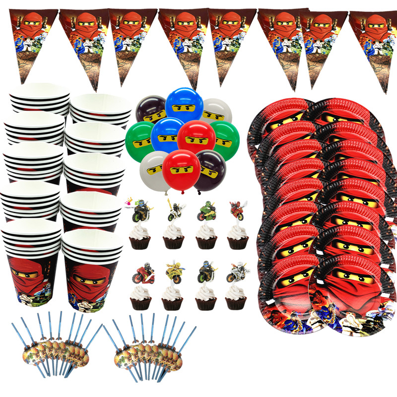 106pcs  Ninjagoing Theme Party Decoration Ninja Tableware Paper Cups Plates Baby Shower Banner  Birthday Party Supplies