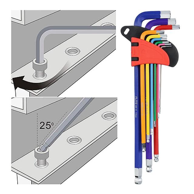 9 sztuk 1.5mm - 10mm sześciokątny klucz imbusowy zestaw narzędzi imbus matowy Chrome Ball End zestaw kluczy śrubokręt zestaw narzędzi T10 -T50