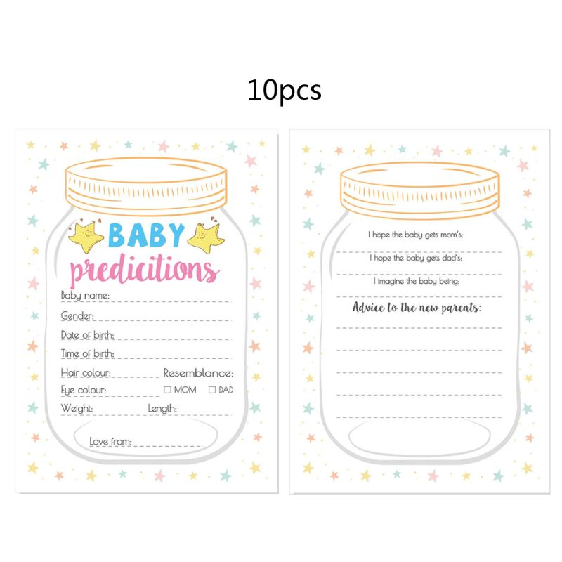 10 Pc Baby Predictions And Advice Cards - Baby Shower Games Ideas For Boy Or Girl- Party Activities Supplies