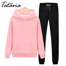 Tracksuit Women Sweatshirt Pullover Hoodie Sport-Suit-Set Pink Female 2piece