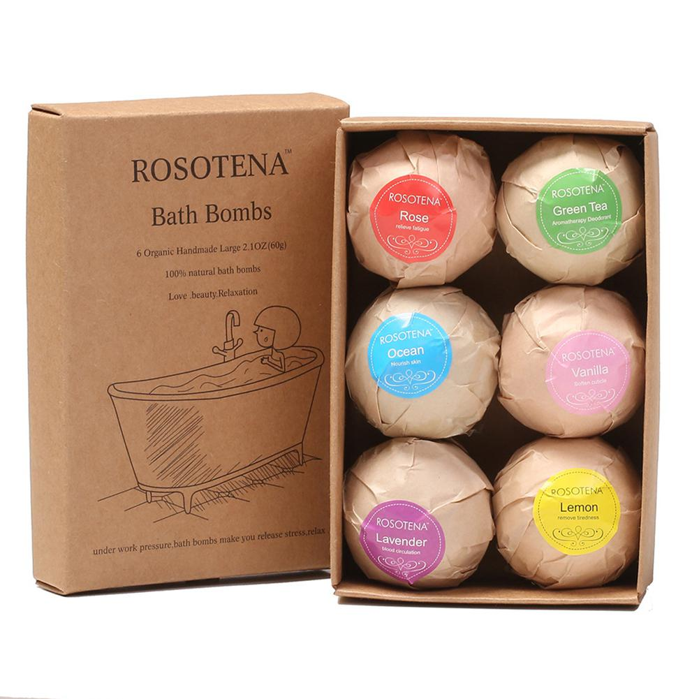 BellyLady 6pcs Bath Bomb Skin Whitening Bath Salt Body Moisturizing Bath Bombs Ball Natural Bubble Bath Salt Ball Gift Set