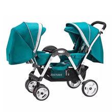 Двойная детская коляска с откидной спинкой сидящая лицом к лицу