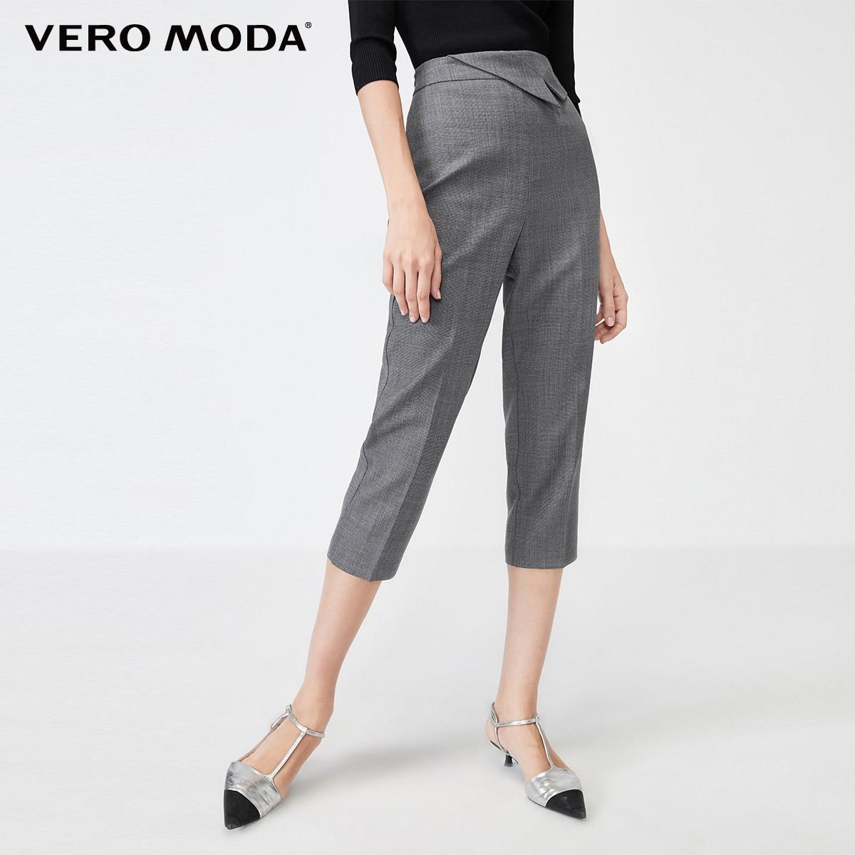 Vero Moda Women's OL WooL Decorative Waist Seal Side Zipper Capri Pants | 31936J524