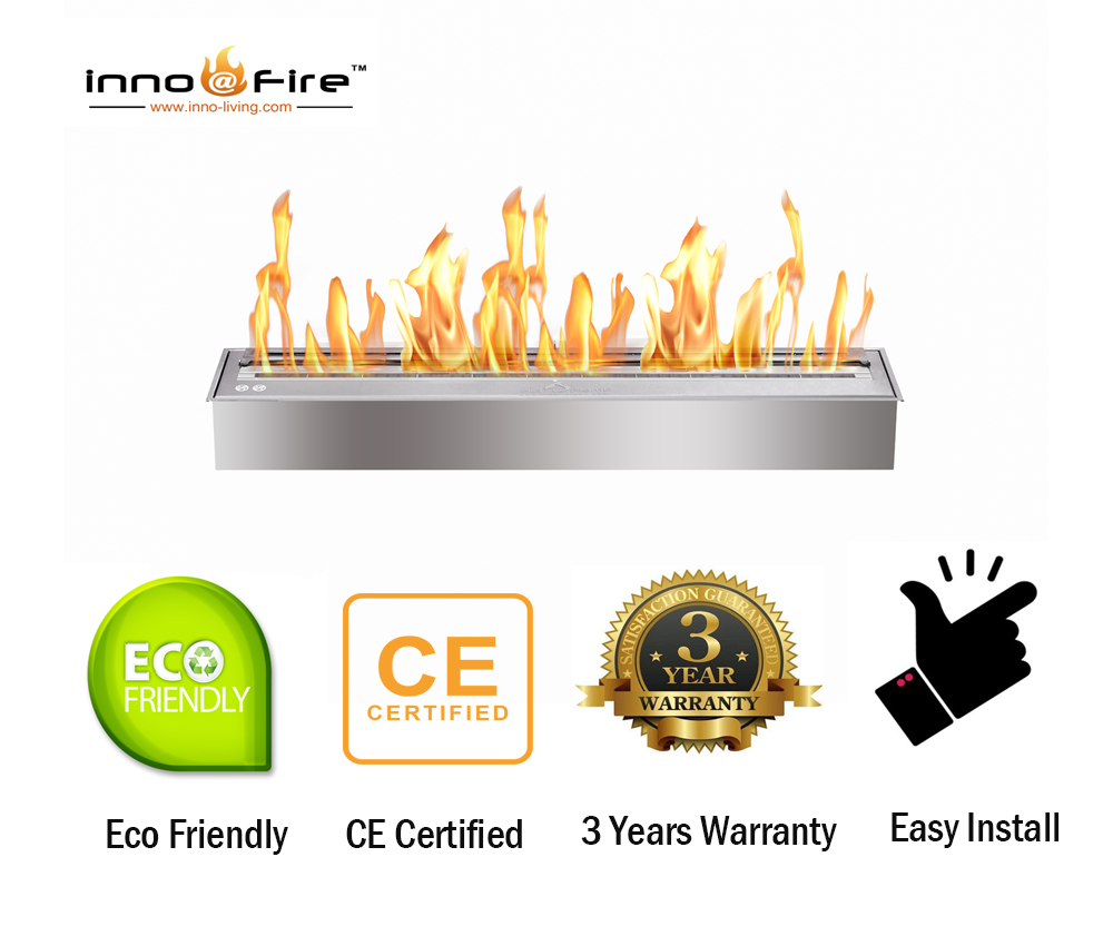 Inno Living Fire  48 Inch Chimney Fireplace Bio Ethanol Cheminee