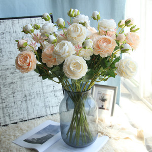 66cm Rose Pink Silk Bouquet Peony Artificial Flowers 3 Heads Wedding Home Decoration office decor Valentine's Day cheap