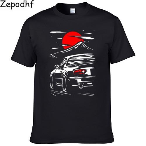 2019 japão estilo mazda MX-5 miata camiseta hombre jinba ittai monte fuji edição t camisa homme gráfico impresso tshirt camisas