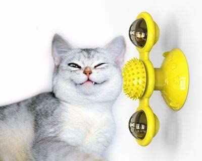 대화 형 고양이 장난감 풍차 휴대용 스크래치 헤어 브러시 손질 흘리기 마사지 흡입 컵 개박하 고양이 퍼즐 훈련 장난감