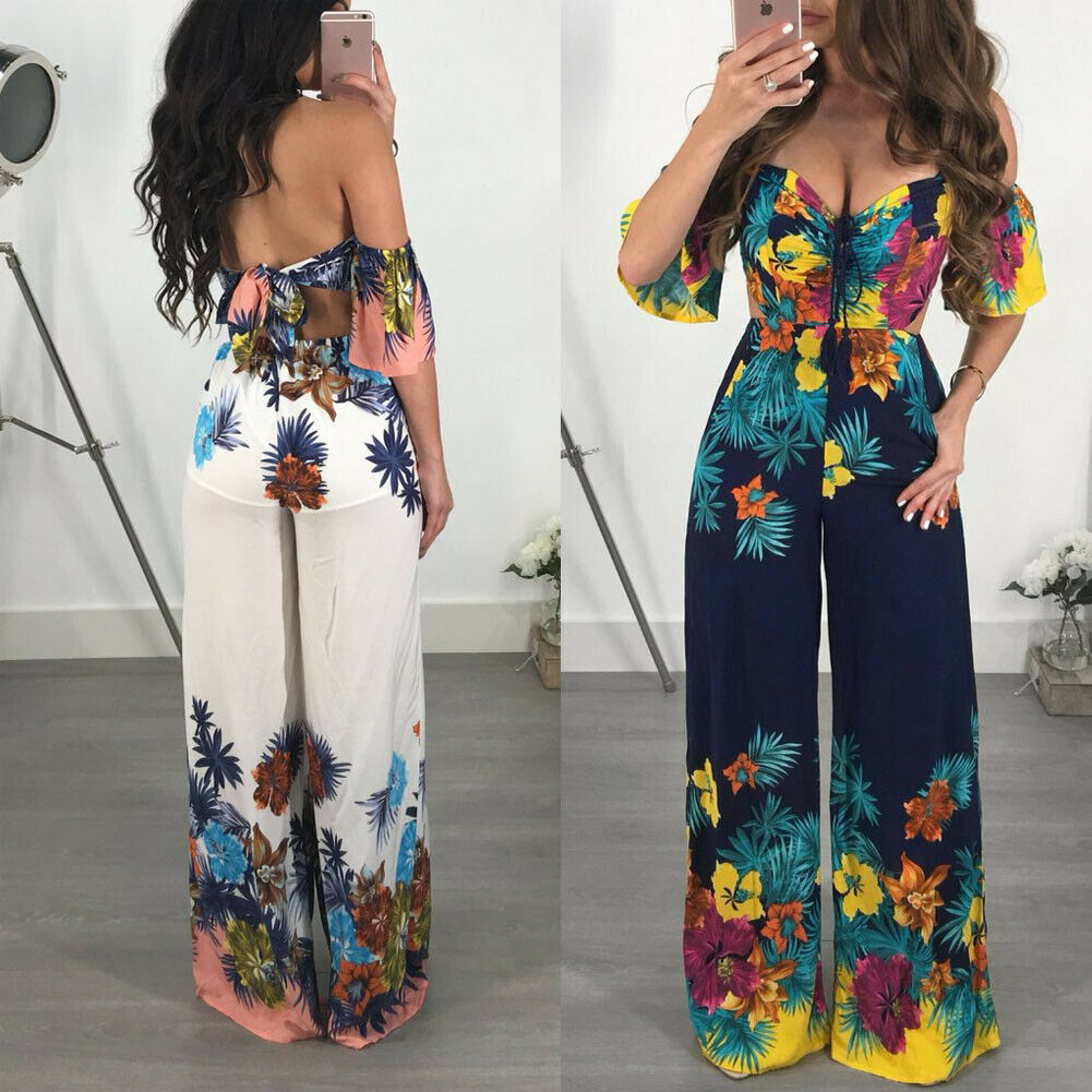 New Brand Women Sexy Off Shoulder Bandage Clubwear Jumpsuit Playsuit Fashion Short Sleeve Party Floral Print Rompers Clothes