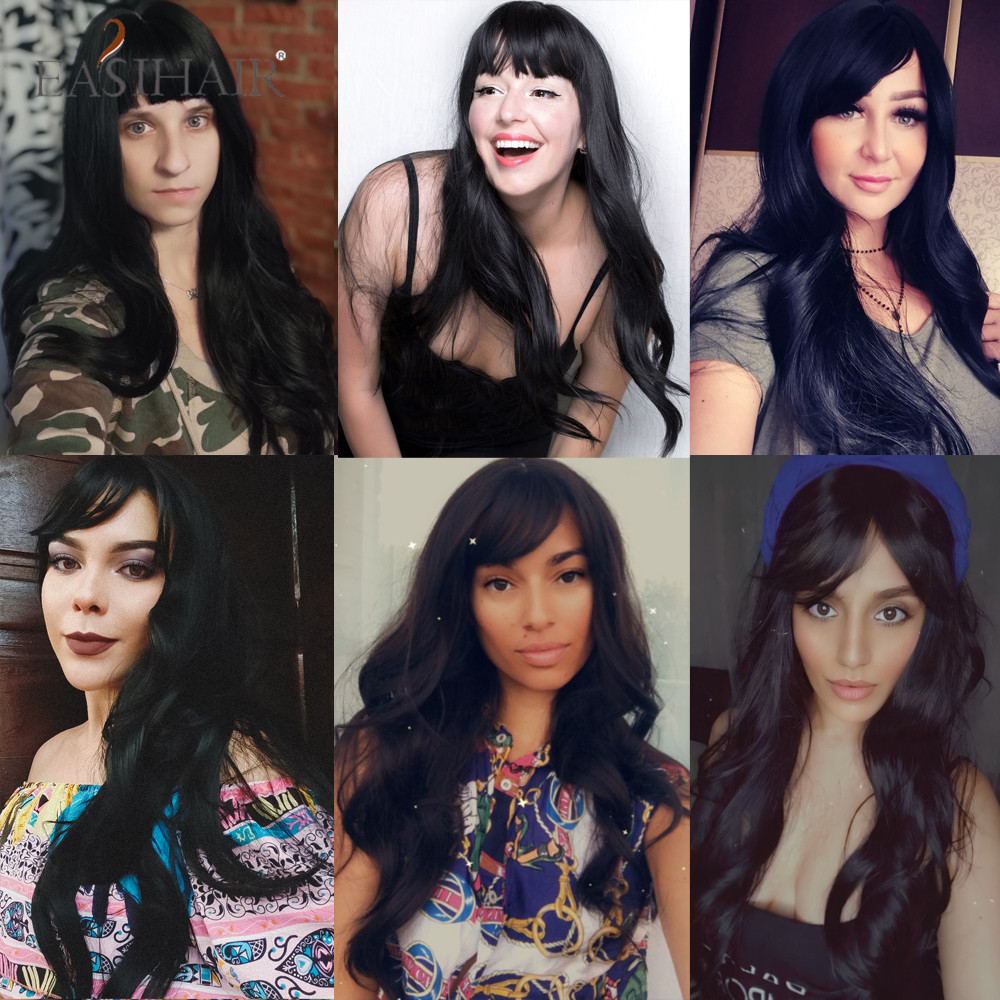 EASIHAIR Long Black Wigs Cosplay Body Wave Synthetic Wigs with Full Bangs For White/Black Women Brazilian American Natural Hair