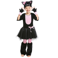 Girl Purim Animal Costume Cute Child Pink Black Cat Cosplay Stage Show Parent Child Halloween Carnival Fancy Party Dress