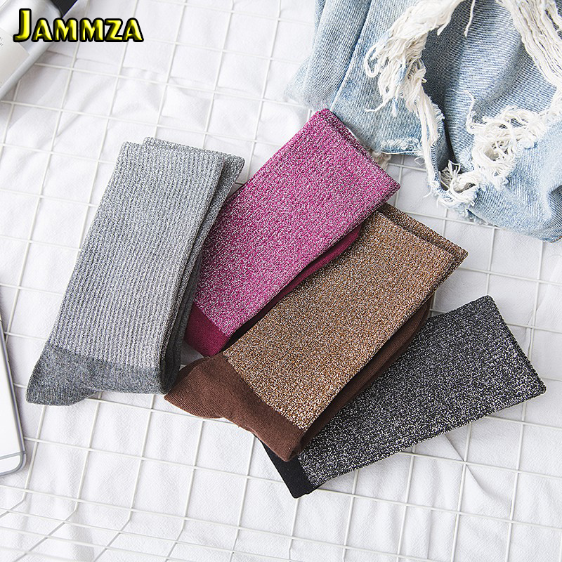Korea Silver Wire Fashion Women Pink Socks Patchwork Flash Pile Of Socks Retro Breathable Cotton Casual Beautiful Colorful Socks