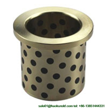 JFB2550 / 2550F (Size:25*35*50/45*5mm) Flanged Solid-Lubricanting Oilless Graphite Brass Bushing|Copper Bearing