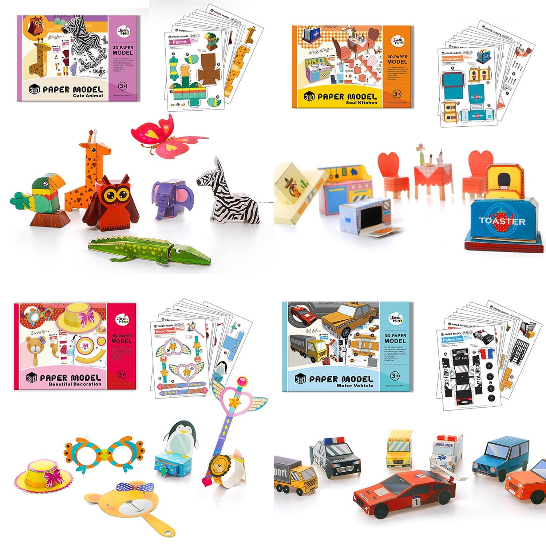Kinder Bunte Cartoon Origami Buch Gefaltet Papier Modell Fahrzeug Tier Muster Karton 3D Papier Puzzle DIY Handgemachte Handwerk Spielzeug