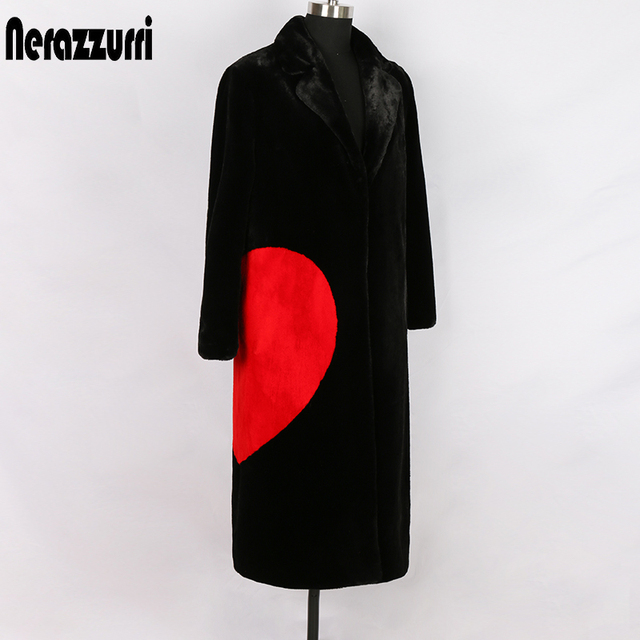 Nerazzurri winter black long faux fur coat with red love hearts long sleeve notched lapel plus size warm  fluffy jacket 5xl 6xl