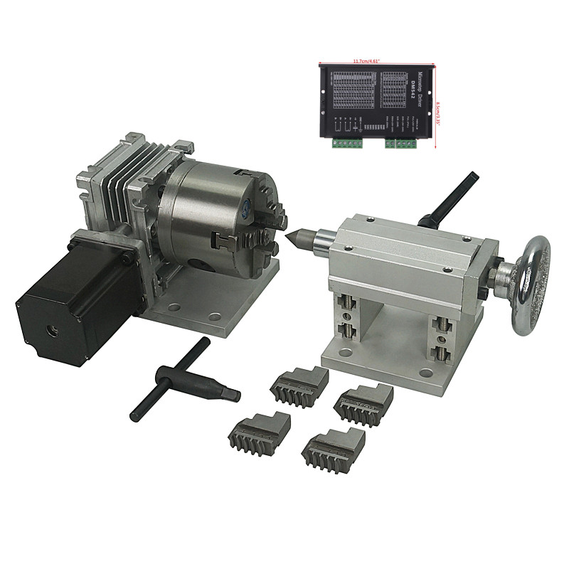 【US】Rotation A-axis CNC Router Rotary Table 4th Axis 100mm 3 jaw chuck+tailstock
