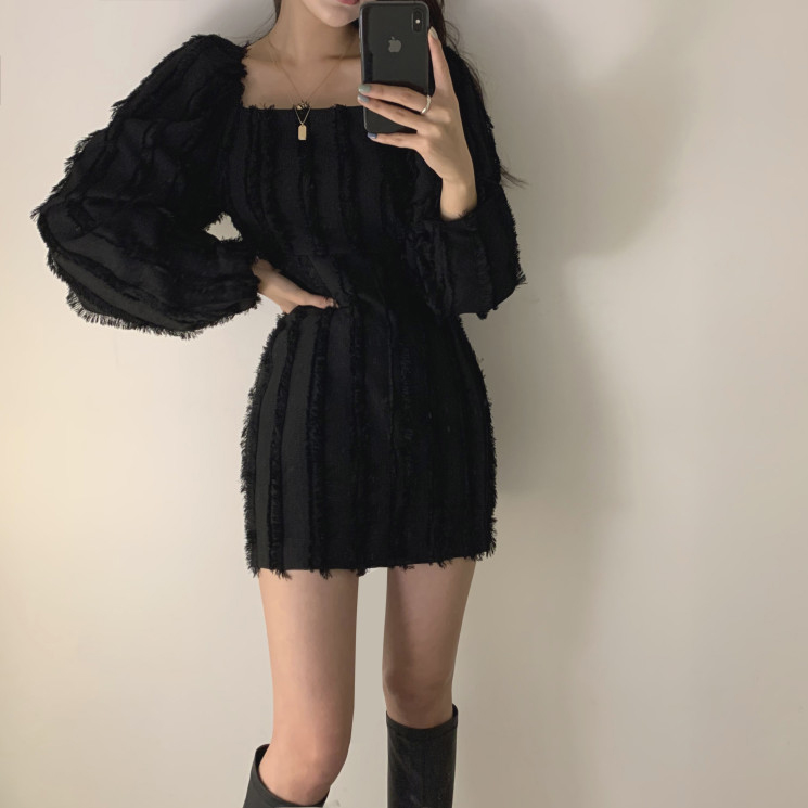 H4512cf3cdcf549ee9835b3d19a8636a3l - Autumn Square Collar Puff Sleeves Tassel Solid Mini Dress