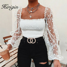 Square Collar Mesh See Though Blouse Women Black Sexy Spring Summer Puff Long Sleeve Polka Dot