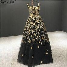 Luxo preto a line sexy sem mangas vestidos de noite 2020 estrelas de ouro lantejoulas brilho vestidos de noite sereno hill ha2303