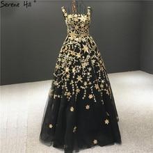 Serenhill robe de soirée noire, forme trapèze, luxueuse tenue de soirée noire scintillante, étoiles or, sequins, sans manches, HA2303, 2020