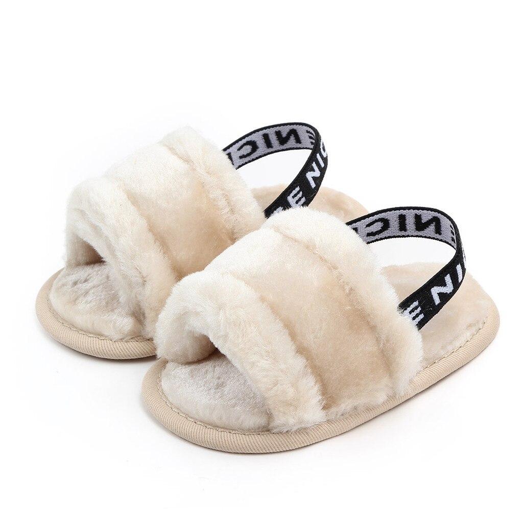 Sandals Baby Girs Boys Hairy Cute Soft Sole Princess Shoes Elastic Sandals Fashion Children Shoes Grils