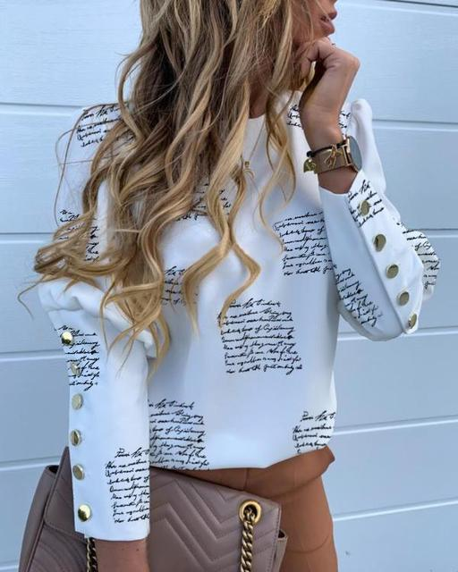 Elegant Metal Buttoned Sleeve Blouse Women Print Long Sleeve Shirts Autumn O-Neck Puff Shoulder Blouses Vintage Office Lady Tops