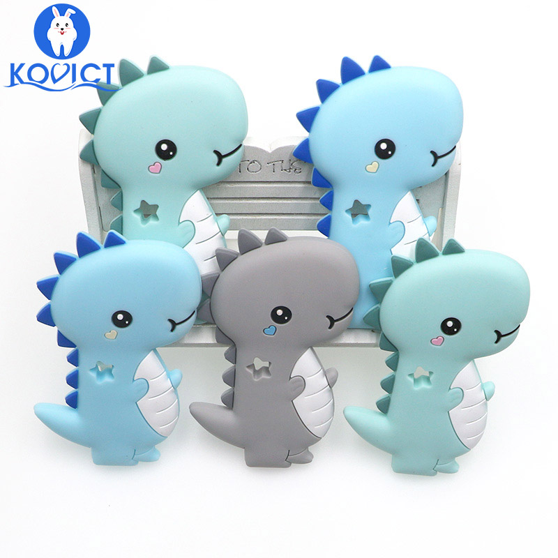 Kovict Dinosaur Baby Silicone Teether Rodent BPA Food Free Silicone Teething Nursing Pacifier Clip Silicone Beads
