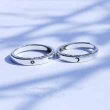 Anillo de plata esterlina S925 con diseño de sol y luna, anillo de pareja de moda con letras coreanas, joyería de San Valentín, joyería de boda sencilla