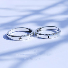 S925 argent Sterling soleil et lune redimensionnable Couple anneau mode coréen lettrage Valentine bijoux Simple bijoux de mariage