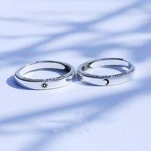 S925 ayar gümüş güneş ve ay yeniden boyutlandırılabilir çift yüzük moda kore yazı sevgililer takı basit düğün takı