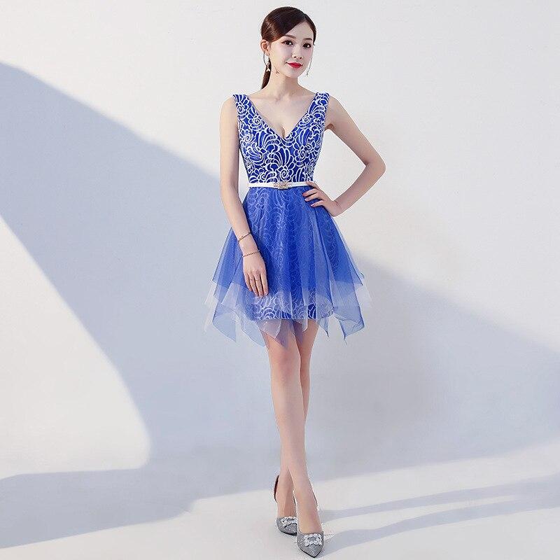 Sexy Temptation Nightclub Short Evening Gown 2019 New Style Gauze Transparent Slim Dress Ktv Labour Suit