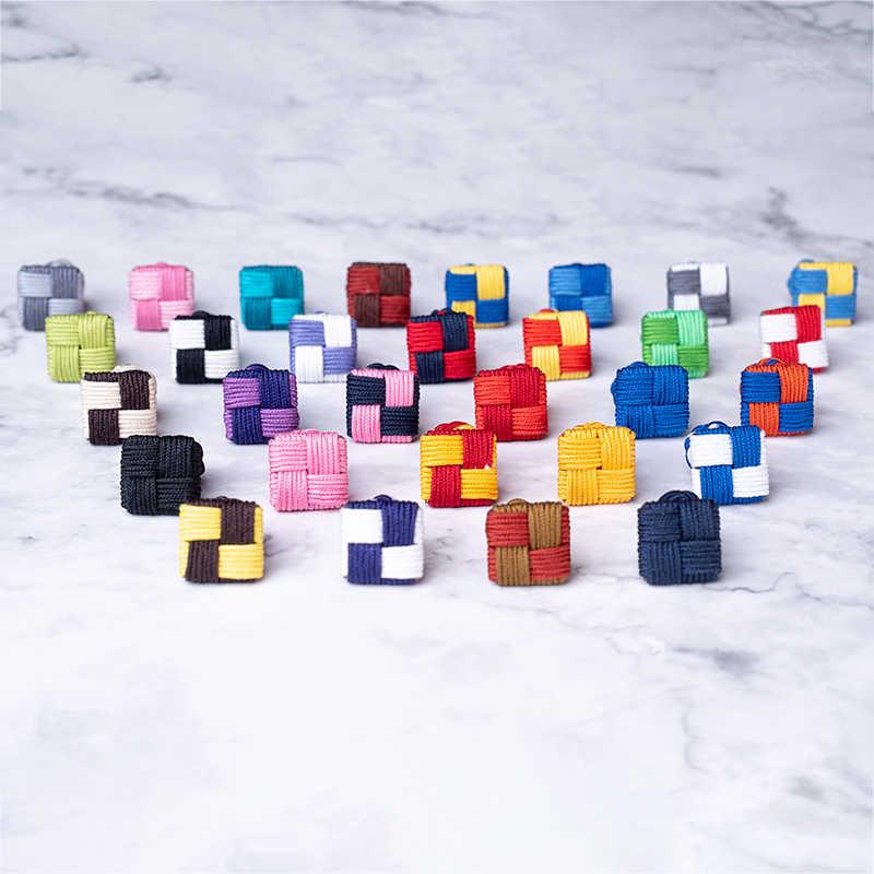 Elegante Silk knots Cufflinks Forma Quadrada Handmade Elastic Corda Dupla Camisa de Botões de Punho Para Homens Jóias Partido Presente de Natal