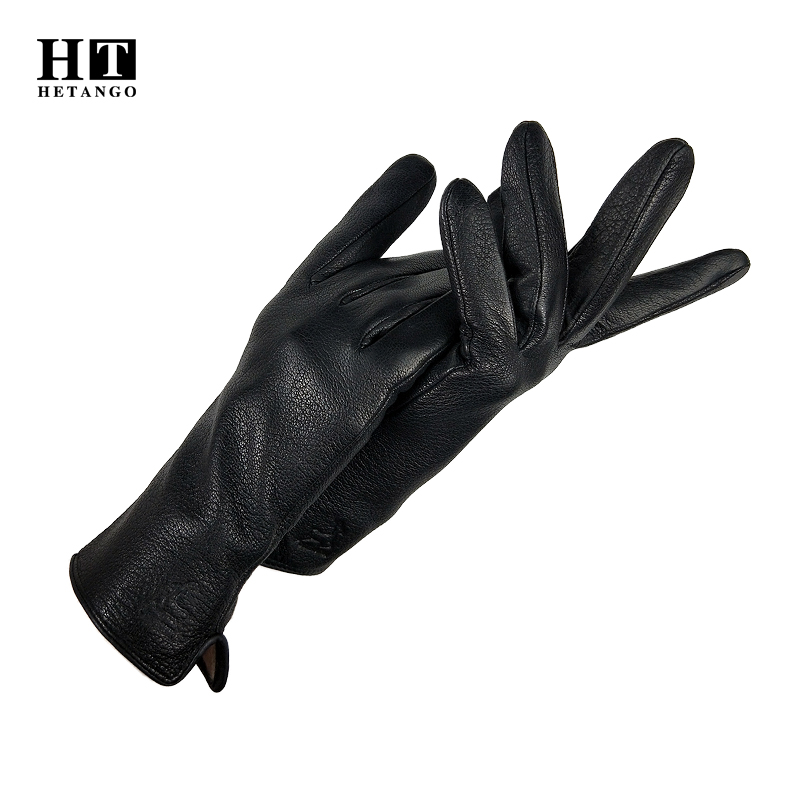 New winter women's leather gloves outdoor driving black fashion warm soft deerskin ladies cold protection mittens wool lining