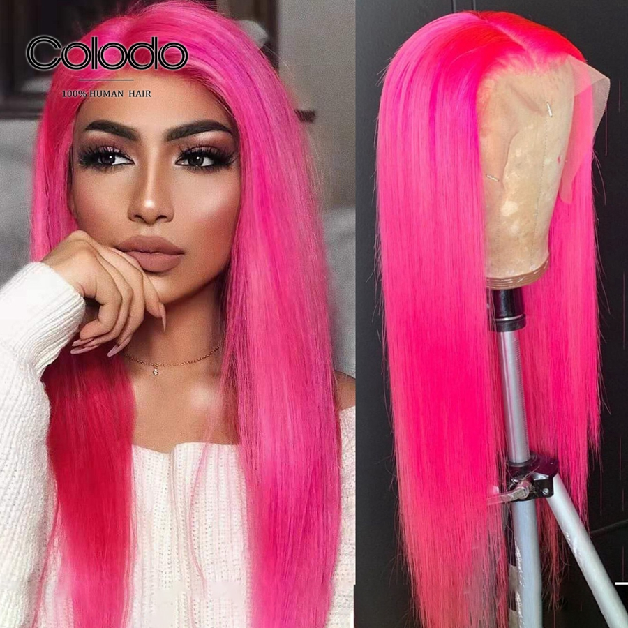 COLODO Hot Pink Remy Hair Wig Orange Blue 13x6 Lace Front Wig Glueless Transparent Lace Ombre Brazilian Human Hair Straight Wigs