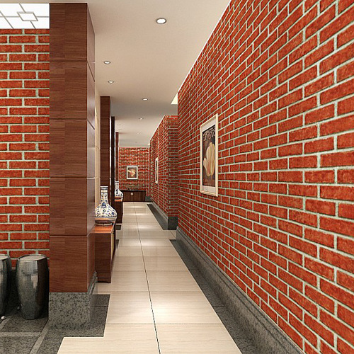 3D Model Brick Wallpaper Clothing Store Restaurant Internet Cafe Antique Brick Pattern Art Stone PVC Engineering Wallpaper