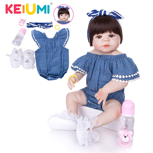New Style 57 CM Realistic Reborn Baby Girl Doll Full Silicone Vinyl Adorable Girl Baby Toy Wear Cowboy Romper Kid Birthday Gift(China)