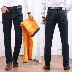 Image 5 - Winter Mens Warm Jeans 2019 New Classic Style Business Casual Thicken Elastic Denim Pants Male Brand Trousers Blue Black