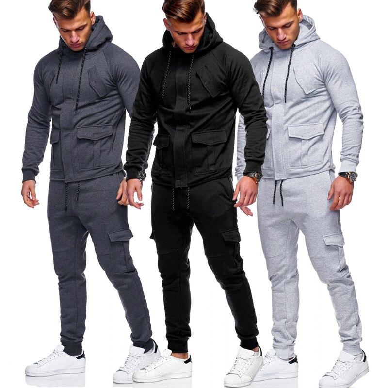 ZOGAA New Men Sports Set 2 Pcs Cotton Long Sleeve Hooded Coat Sweat Casual Pant Male Slim Fit Steetwear Men 3 Colors S-3XL Size