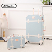 UNIWALKER Light Blue Retro Rolling Luggage with Adjustable Rod Spinner Wheels Vintage Cute Suitcase for Women Carry On