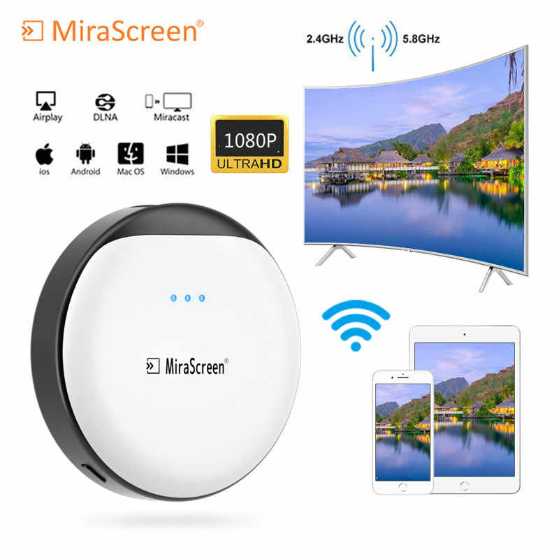 1080P MiraScreen 5G TV Stick con WiFi Miracast Android ios Windows TV Dongle receptor DLNA Airplay TV Stick para Netflix, YouTube